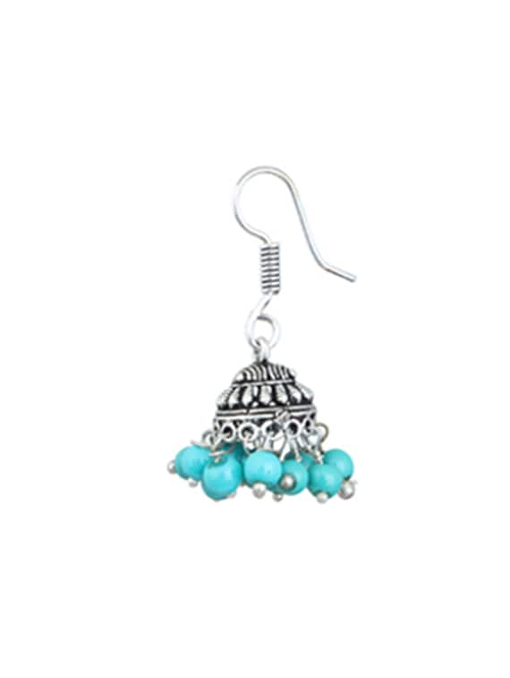 multi silver plated drop earring tn12
