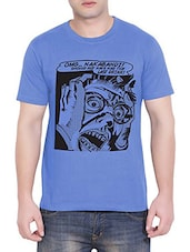 blue printed cotton t-shirt -  online shopping for T-Shirts