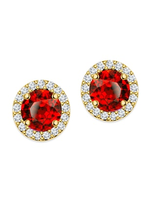 red silver plated studs earring -  online shopping for Earrings