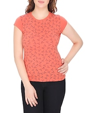peach printed cotton regular tee -  online shopping for Tees