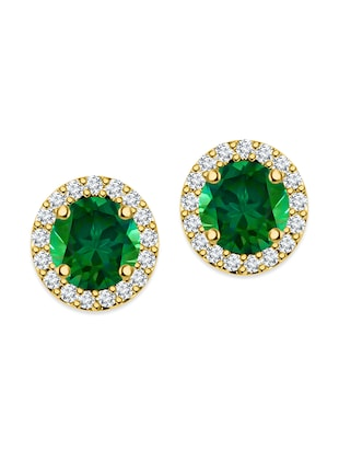 green silver plated studs earring -  online shopping for Earrings