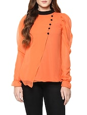 orange georgette layered top -  online shopping for Tops