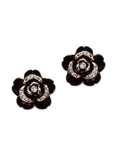 Trendy Black Colour Floral Design Rhinestones Stud Earrings - By