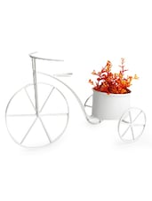White Metal Hand Painted Cycle Planter - By