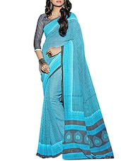 Sky Blue faux georgette printed saree -  online shopping for Sarees