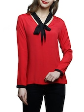 red crepe regular top -  online shopping for Tops