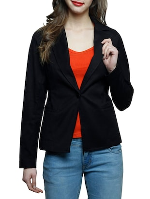 black cotton casual blazer -  online shopping for Blazers