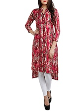 Multi Poly Crepe Highlow Kurta - By