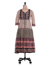 Printed Beige And Black Cotton Anarkali Kurta - By