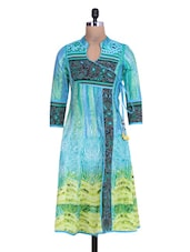 Printed Light Blue Cotton Angrakha Anarkali Kurta - By
