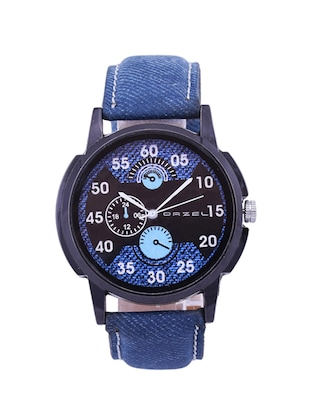 Mens Blue Leather Strap Watch -  online shopping for Analog Watches