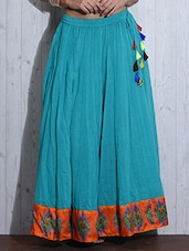 Turquoise Printed Flared Cotton Skirt - By