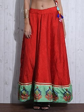 Red Printed Flared Silk Skirt - By