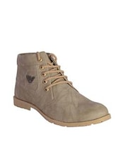 beige leatherette Low ankle boot -  online shopping for Boots
