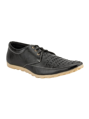 black Leatherette lace up shoe -  online shopping for Shoes