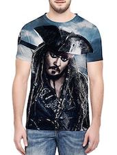 blue polyester graphic printed t-shirt -  online shopping for T-Shirts