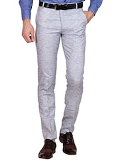 grey linen flat front trousers formal trouser -  online shopping for Formal Trousers