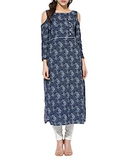 Blue Cotton Printed Cold Shoulder Kurta - By