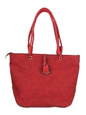 Red Leatherette  Hand Bag - By