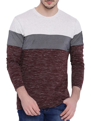 multicoloured colour block cotton t-shirt -  online shopping for T-Shirts