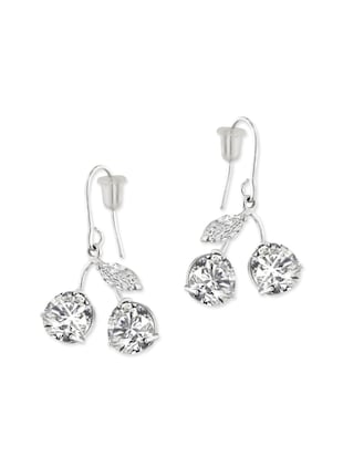 Rhodium Plated White Cubic Zirconium Cherry Shape Dangle for Women and Girls -  online shopping for Earrings
