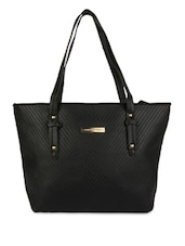 Black Leatherette Hand Bag - By