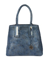 Blue Leatherette Cut Worked Hand Bag - By