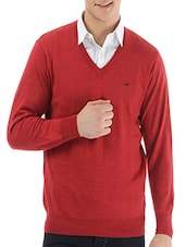 red wool pullover -  online shopping for Pullovers