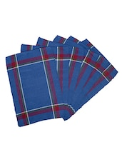 Dhrohar Hand Woven Cotton Table Mat - Pack Of 6 Mats - Earthy Blue - By