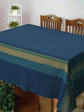 Dhrohar Hand Woven Blue Cotton Table Cover For 4 Seater Table - By