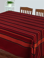 Dhrohar Hand Woven Cotton Table Cover For 4 Seater Table - Maroon Green - By