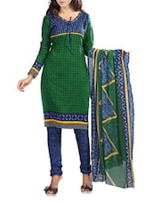 Printed Green Cotton Salwar Suit - By