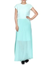 Mint Green Laced Georgette And Crepe Maxi Dress - By