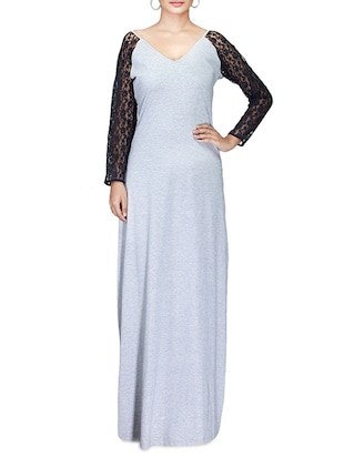 grey jersey maxi dress with lace sleeved -  online shopping for Dresses