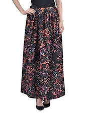 Black Polyester Printed Long Skirt With Gathers - By