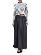 Black Polyester Plain  Long Skirt With Gathers - By