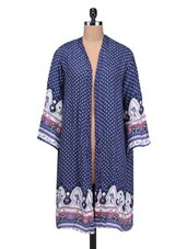 Blue Viscose Printed Shrug - By