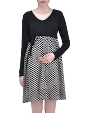 Black And White Viscose Polygeorgette Printed Dress - By