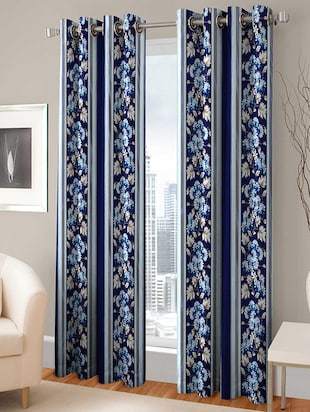 Trendz Home Furnishing Eyelet Multi Color Curtain Set of 2 -  online shopping for Curtains