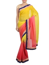 Yellow And Peach Embroidered Georgette Saree - By