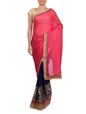Pink And Blue Embroidered Georgette Saree - By