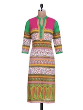 Multicolored Printed Cotton Long Kurta - By