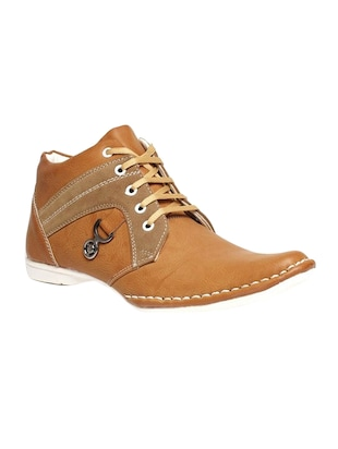 tan leatherette lace up boot -  online shopping for Boots