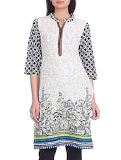 Off White Floral Printed Cotton Kurta - By