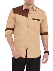 beige and brown colour block cotton casual shirt -  online shopping for casual shirts
