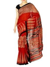 Multicolor Ghicha Silk Printed Saree - By