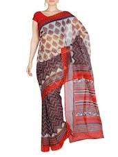 Multicolor Silk Printed Saree - By