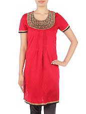 Embroidered Red Cotton Pin-Tuck Kurta - By
