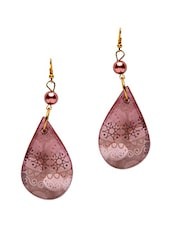 Pink Printed Wooden Drop Earrings - By