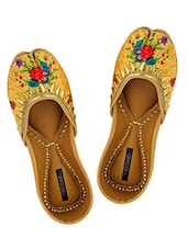 Yellow floral print juttis -  online shopping for Jutis & Mojaris